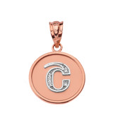 "Solid Two Tone Rose Gold Armenian Alphabet Diamond Disc Initial ""Sh"" Pendant Necklace"