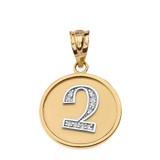 "Solid Two Tone Yellow Gold Armenian Alphabet Diamond Disc Initial ""Chu"" Pendant Necklace"