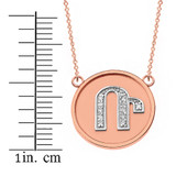 """14K Solid Two Tone Rose Gold Armenian Alphabet Diamond Disc Initial """"R"""" Necklace"""