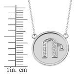 "14K Solid White Gold Armenian Alphabet Diamond Disc Initial ""R"" Necklace"