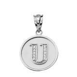 "Solid White Gold Armenian Alphabet Diamond Disc Initial ""S"" Pendant Necklace"