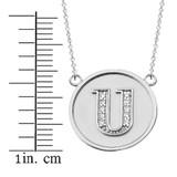 "14K Solid White Gold Armenian Alphabet Diamond Disc Initial ""S"" Necklace"