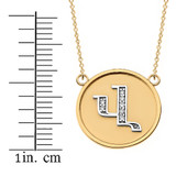 """14K Solid Two Tone Yellow Gold Armenian Alphabet Diamond Disc Initial """"V"""" Necklace"""