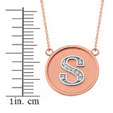 """14K Solid Two Tone Rose  Gold Armenian Alphabet Diamond Disc Initial """"T"""" or """"D""""  Necklace"""