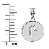 "Solid White Gold Armenian Alphabet Diamond Disc Initial ""Ru"" Pendant Necklace"