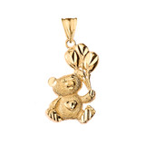 Teddy Bear with Ballon Pendant Necklace in Yellow Gold