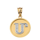 """Solid Two Tone Yellow Gold Armenian Alphabet Diamond Disc Initial """"M"""" Pendant Necklace"""
