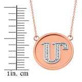 """14K Solid Two Tone Rose Gold Armenian Alphabet Diamond Disc Initial """"M""""  Necklace"""