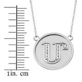 "14K Solid White Gold Armenian Alphabet Diamond Disc Initial ""M""  Necklace"