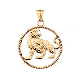 Lion Rope Pendant Necklace in Yellow Gold