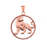 Lion Rope Pendant Necklace in Rose Gold