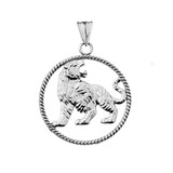 Lion Rope Pendant Necklace in White Gold