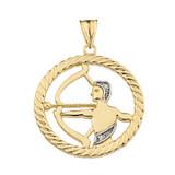 Diamond Sagittarius Zodiac in Rope Pendant Necklace in Yellow Gold