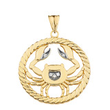 Diamond Cancer Zodiac in Rope Pendant Necklace in Yellow Gold
