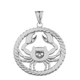 Diamond Cancer Zodiac in Rope Pendant Necklace in White Gold
