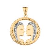 Diamond Gemini Zodiac in Rope Pendant Necklace in Yellow Gold