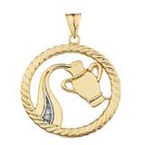 Diamond Aquarius Zodiac in Rope Pendant Necklace in Yellow Gold
