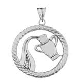 Diamond Aquarius Zodiac in Rope Pendant Necklace in White Gold