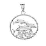 Roped Dolphin Trio Pendant Necklace in White Gold
