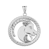 Cubic Zirconia Capricorn  Zodiac In Rope Pendant Necklace In Sterling Silver