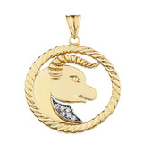 Diamond Taurus  Zodiac In Rope Pendant Necklace In Yellow Gold
