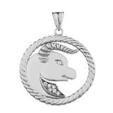 Diamond Taurus  Zodiac In Rope Pendant Necklace In White Gold