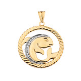 Diamond Pisces Zodiac In Rope Pendant Necklace In Yellow Gold