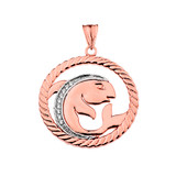Diamond Pisces Zodiac In Rope Pendant Necklace In Rose Gold