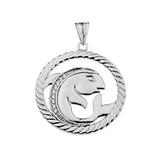 Diamond Pisces Zodiac In Rope Pendant Necklace In White Gold