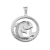 Diamond Pisces Zodiac In Rope Pendant Necklace In Sterling Silver