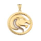 Diamond Leo Zodiac In Rope Pendant Necklace In Yellow Gold