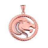 Diamond Leo Zodiac In Rope Pendant Necklace In Rose Gold
