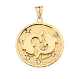 Designer Diamond Pisces Constellation Pendant Necklace in Yellow Gold