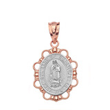 Solid Two Tone Rose Gold Our Lady of Guadalupe Pendant Necklace