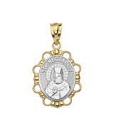 Solid Two Tone Yellow Gold Saint Nectarios Pendant Necklace