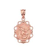 Solid Rose Gold Saint Michael Pendant Necklace