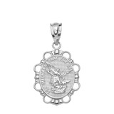 Solid White Gold Saint Michael Pendant Necklace