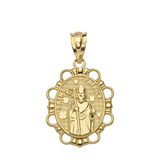 Saint Patrick Pendant Necklace in Solid Gold (Yellow/Rose/White)