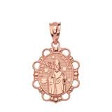 Solid Rose Gold Saint Patrick Pendant Necklace