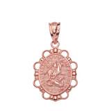 Solid Rose Gold Saint George Pendant Necklace