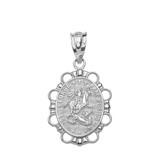 Solid White Gold Saint George Pendant Necklace