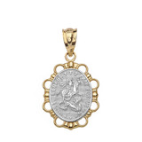Solid Two Tone Yellow Gold Saint George Pendant Necklace