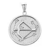 Designer Diamond Sagittarius Constellation Pendant Necklace in White Gold