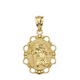 Saint Christopher Pendant Necklace in Solid Gold (Yellow/Rose/White)
