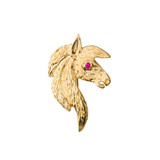 Exquisite Ruby Eyed Horse Pendant Necklace in Yellow Gold