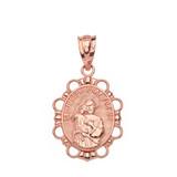 Solid Rose Gold Saint Joseph Pendant Necklace