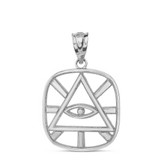 Solid White Gold The Eye of Providence ( Eye of God ) Pendant Necklace
