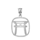 Solid White Gold Torii Gate Japanese Symbol Shinto Shrine Pendant Necklace