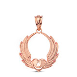 Solid Rose Gold Winged Heart with Star & Crescent Islam Sufi Order Pendant Necklace