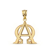 Christian Alpha and Omega Jesus Christ Symbol Pendant Necklace in Solid Gold (Yellow/Rose/White)